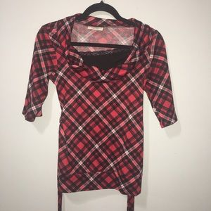 Red plaid black lace sweater tie off shoulder